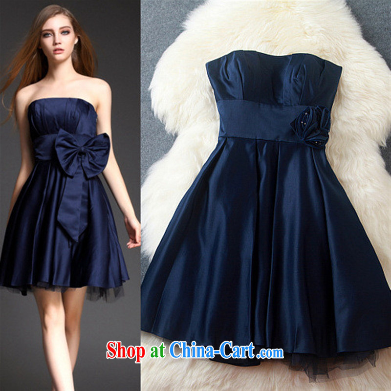 Ya-ting 2015 store name-yuan and stylish art Lady style ceremony dress dress dress a field for chest bare dresses T 3148 black XL