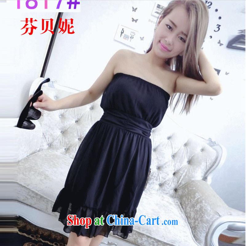 ADDIS ABABA, Connie 2015 Korean female sexy bare chest sweet-waist yarn yarn floating dress dresses F 4215 black