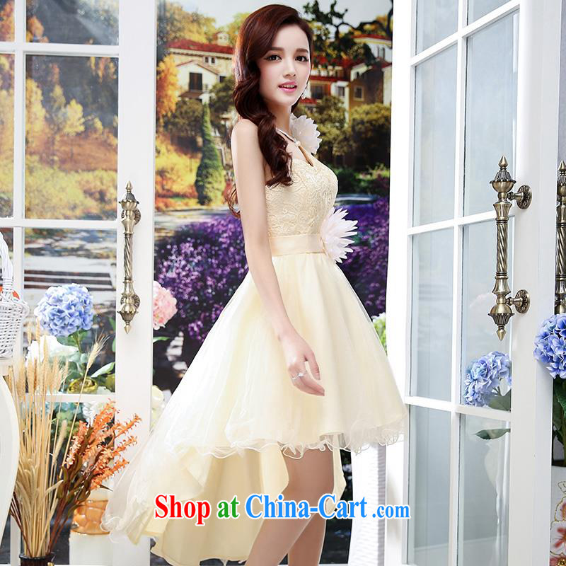 Upscale dress summer 2015 new wedding ceremonial dress dress single shoulder strap lace shaggy skirts long-tail Princess skirt apricot M