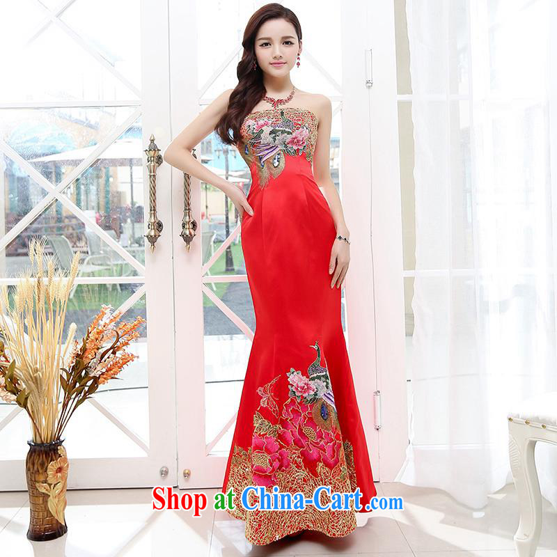 Upscale dress summer 2015 erase chest crowsfoot service ultra-long dresses dress wrapped chest Mermaid banquet dress red M