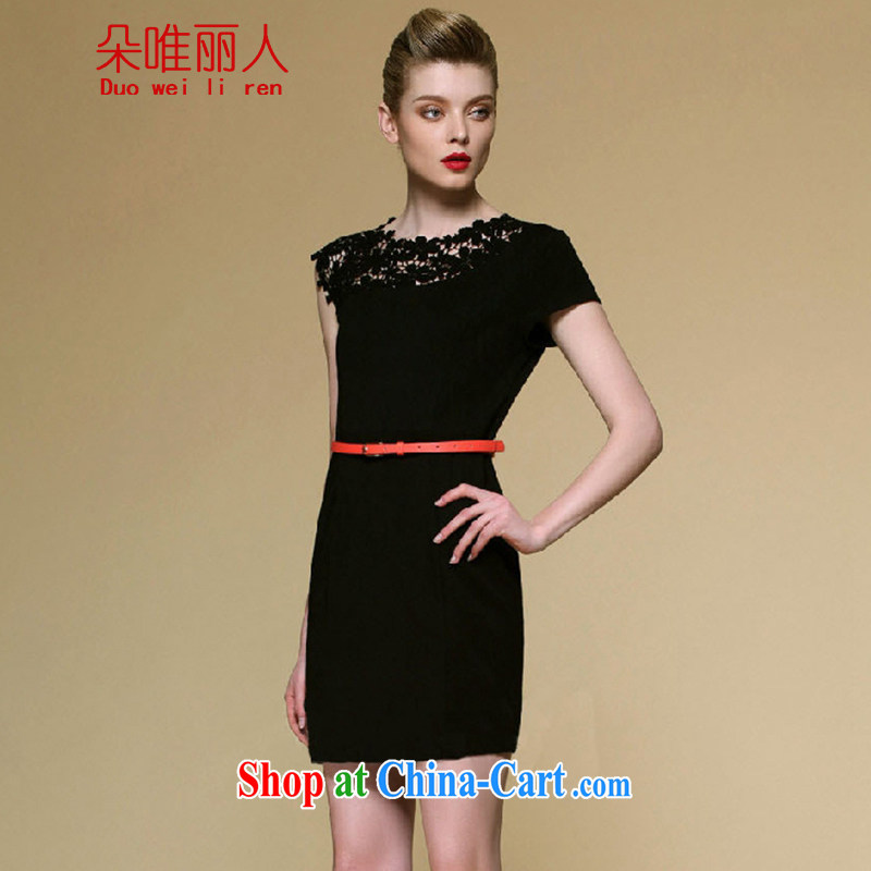 The flowers were 2015 summer does not rule the shoulder cultivating graphics thin elegance exclusive lace Openwork package and dress 608 black L