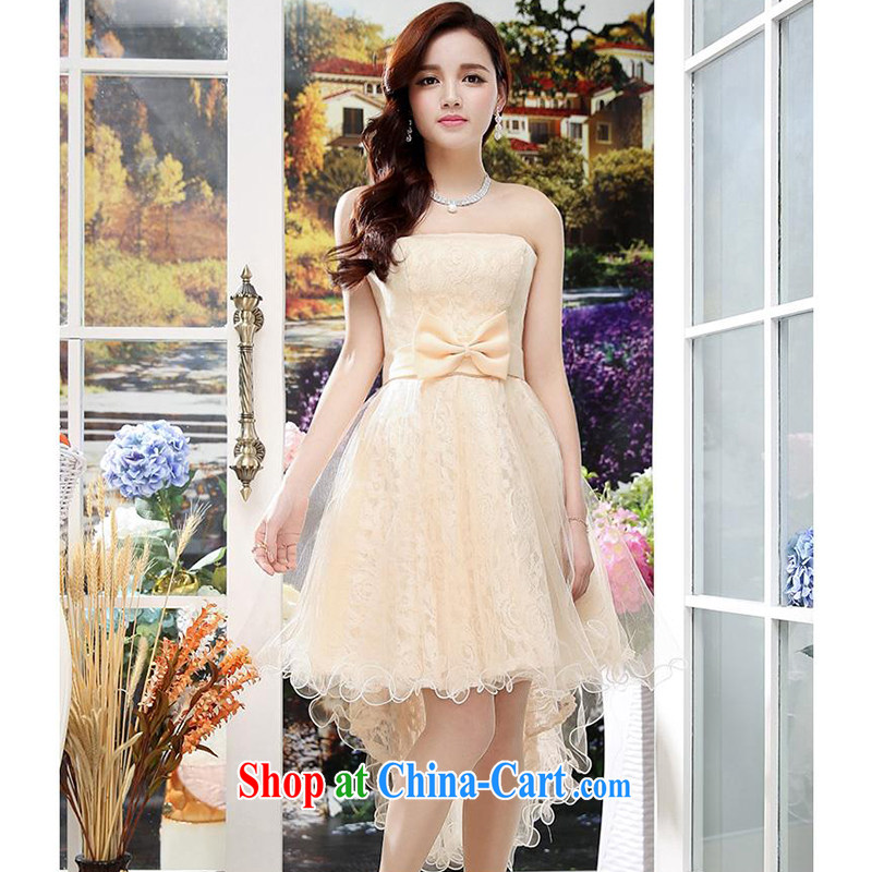Upscale dress summer 2015 new erase chest dresses dresses short before long shaggy skirts wrapped chest sexy lady wedding, long evening dress apricot XL