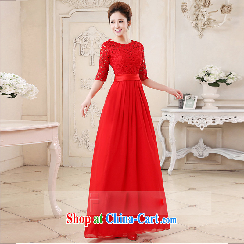 Pure bamboo love yarn New Red married women toast one field shoulder lace beauty and stylish sweet dress short dress bridal gown Changchun summer red long tailored contact Customer Service
