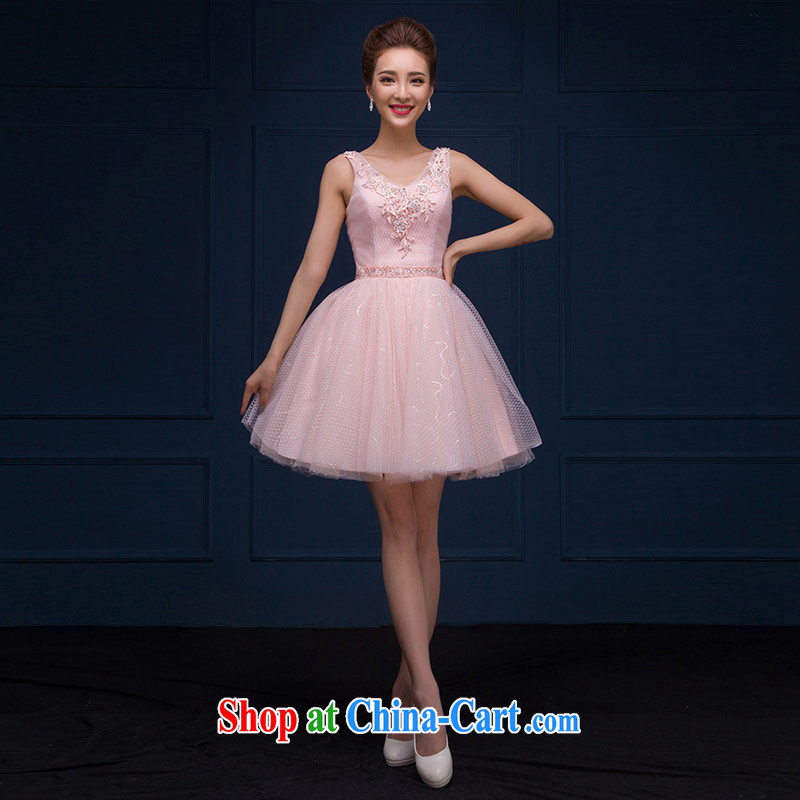 The china yarn 2015 New Red bridal toast serving sweet field shoulder bridesmaid dresses the spring and summer, dresses pink. size does not accept return