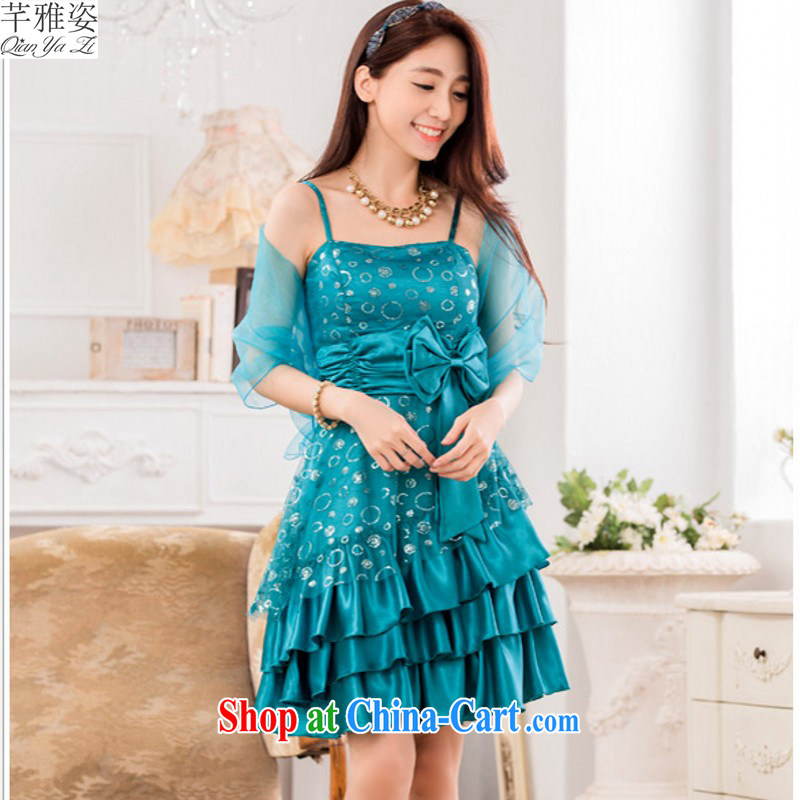 The 2015 new larger dresses straps shaggy cake skirt with silk scarf shawl, erase chest small dress thick mm PATA evening dress blue XXL approximately 145 - 165 jack