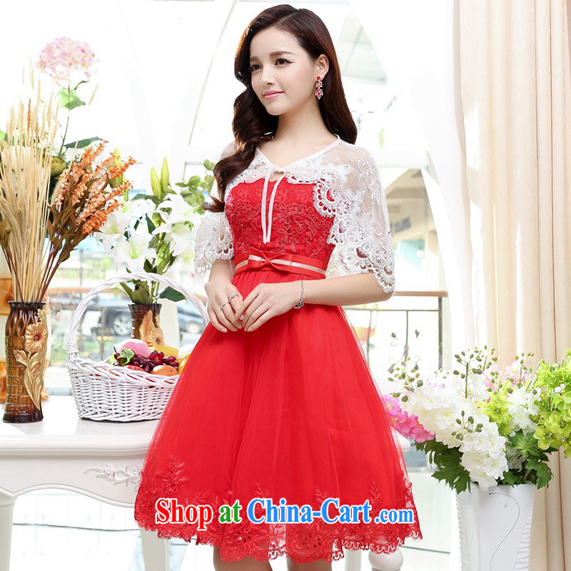 Upscale dress wiped chest dresses dresses summer 2015 new wrapped chest lace shaggy dress bridesmaid dress Princess banquet wedding dress red S