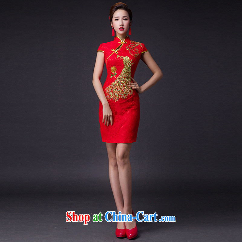 Hi Ka-hi 2015 new bows dresses, classic style retro fine embroidery only the US is withholding dress skirt L 005 red left size tailored