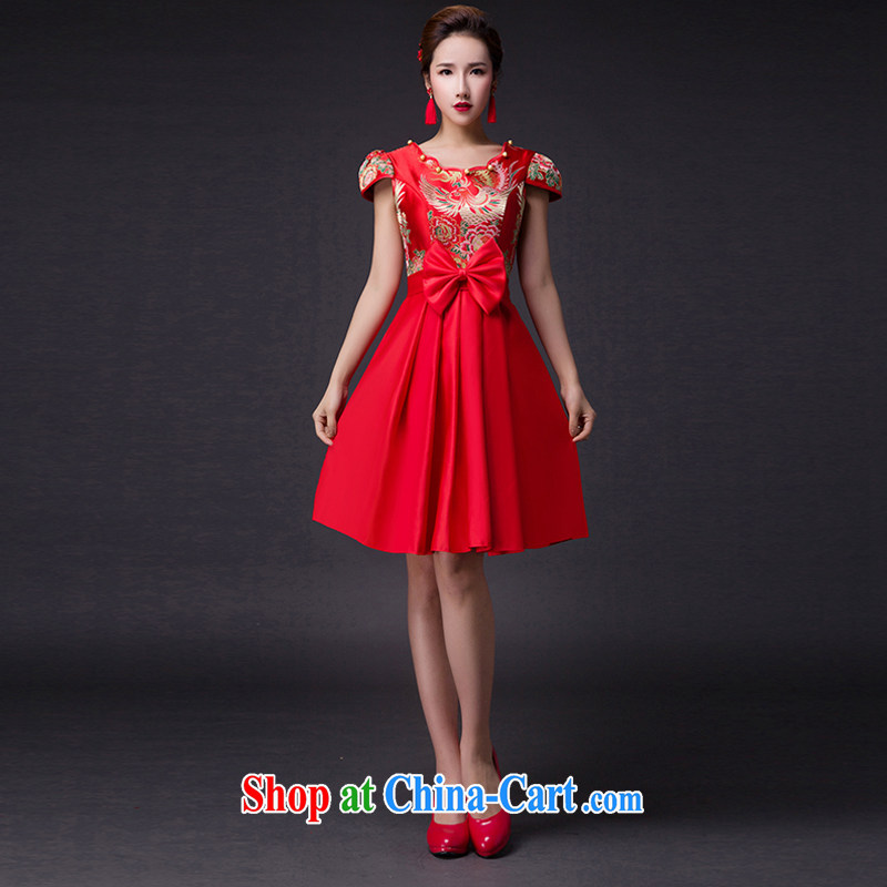 Hi Ka-hi 2015 new bows dresses, classic style retro fine embroidery only the US is withholding dress skirt L 006 red left size tailored