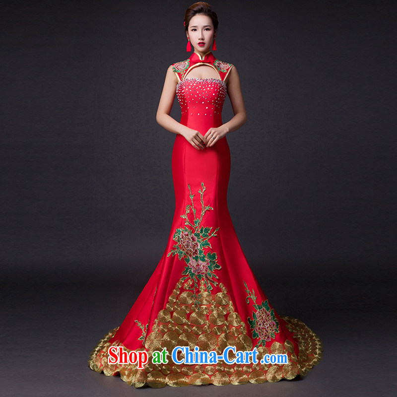 Hi Ka-hi 2015 new bows dresses, classic style retro fine embroidery only the US is withholding dress skirt L 007 wine red leaves size tailored
