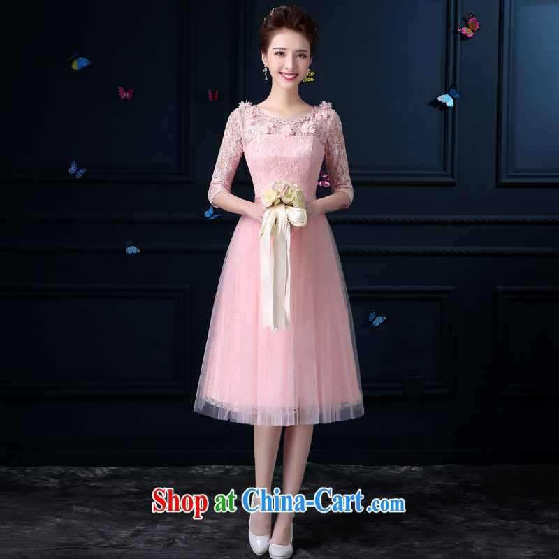 A good service is a new 2015 pink bridesmaid clothing girls summer fashion, long, small dress sister's bridesmaid dress with round collar chest no flowers - Cuff XL 3
