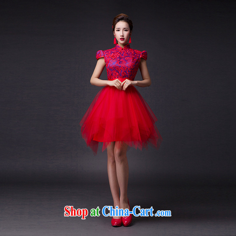 Hi Ka-hi 2015 new bows dresses, classic style retro fine embroidery only the US is withholding dress skirt L 008 wine red leaves size tailored