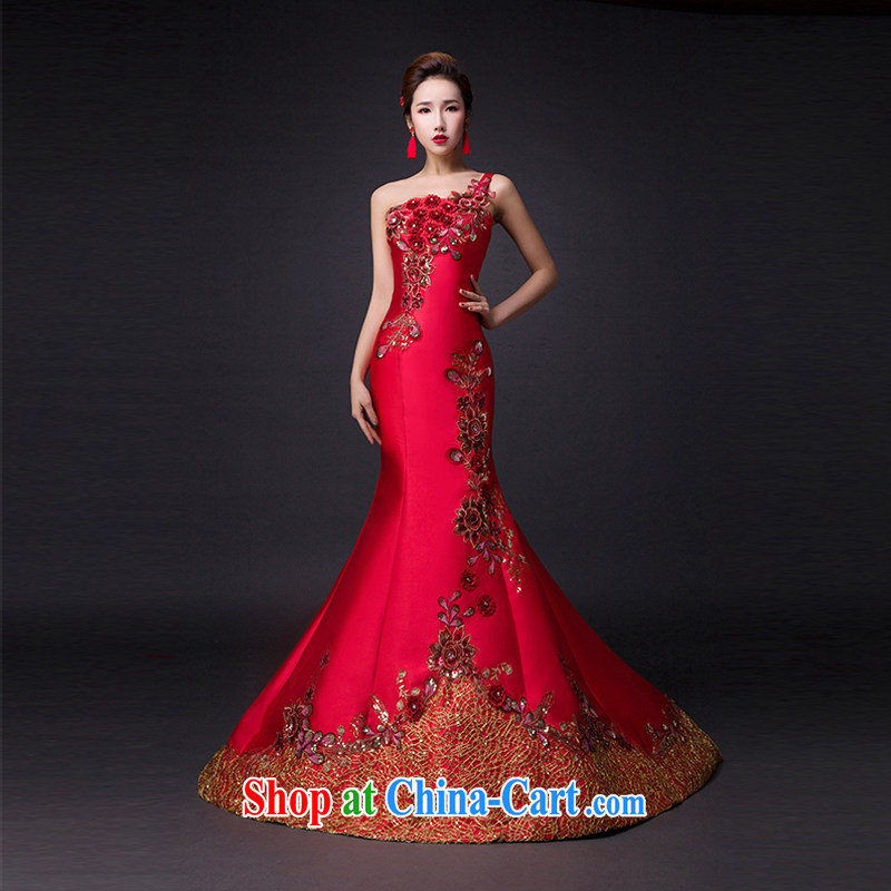 Hi Ka-hi 2015 new bows dresses, classic style retro fine embroidery only the US is withholding dress skirt L 012 wine red leaves size tailored