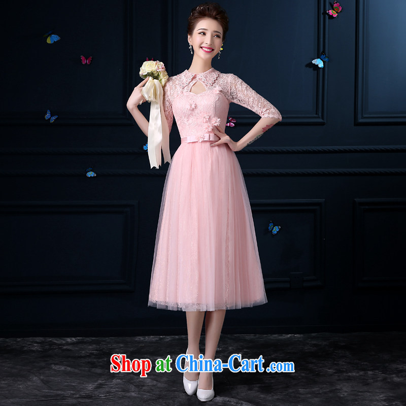 A good service is 2015 new summer, long bridesmaid clothing female small dress stylish skirt sister mission bridesmaid dress with collar, cuff XL 3