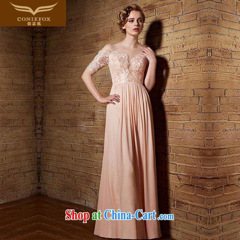 Creative Fox Evening Dress 2015 new banquet dress lace pink bridal bridesmaid dress long high-waist evening dress bows dress long skirt 30,839 picture color XXL