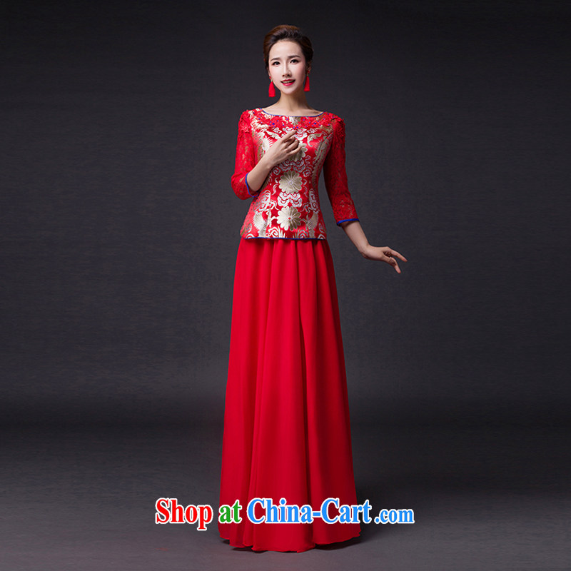 Hi Ka-hi 2015 new bows dresses, classic style retro fine embroidery only the US is withholding dress skirt L 018 red left size tailored