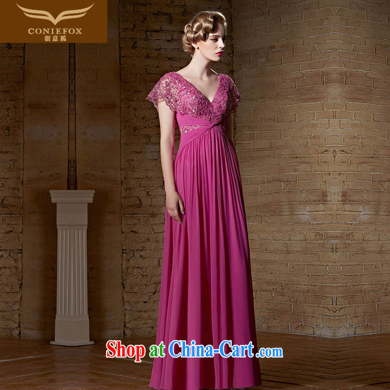 Creative Fox Evening Dress 2015 New Evening Dress lace red wedding dress long deep V evening dress bridesmaid dress banquet toast serving 30,895 picture color XXL