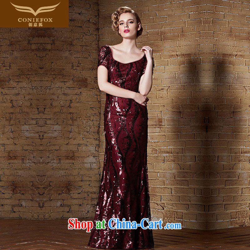 Creative Fox Evening Dress 2015 New Red dress banquet toast serving long terrace beauty back evening dress moderator evening dress girl dress 82,135 picture color XXL