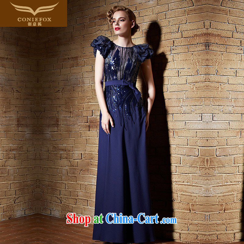 Creative Fox Evening Dress stylish, banquet dress long, cultivating dress evening dress dress uniform toast blue moderator performances dress long skirt 82,193 picture color XXL