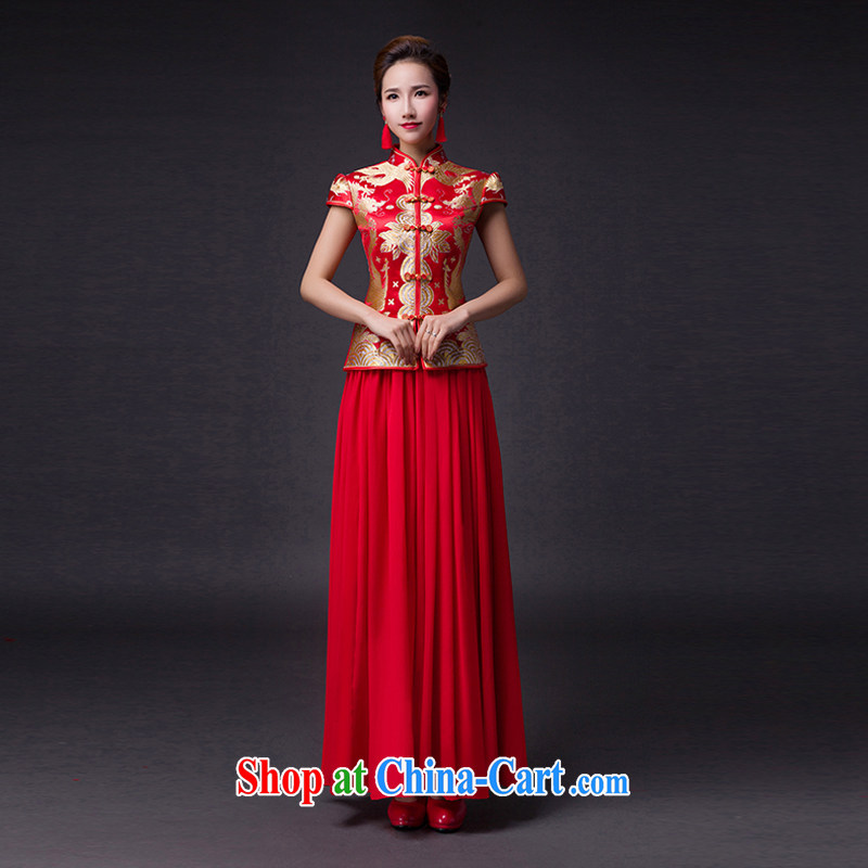 Hi Ka-hi 2015 new bows dresses, classic style retro fine embroidery only the US is withholding dress skirt L 020 red left size tailored