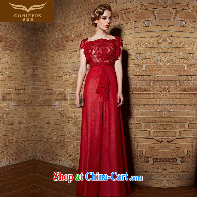 Creative Fox Evening Dress 2015 embroidery lace dress long bridesmaid dress beauty evening dress dress bridal wedding toast clothing dress long skirt 30,828 picture color XXL