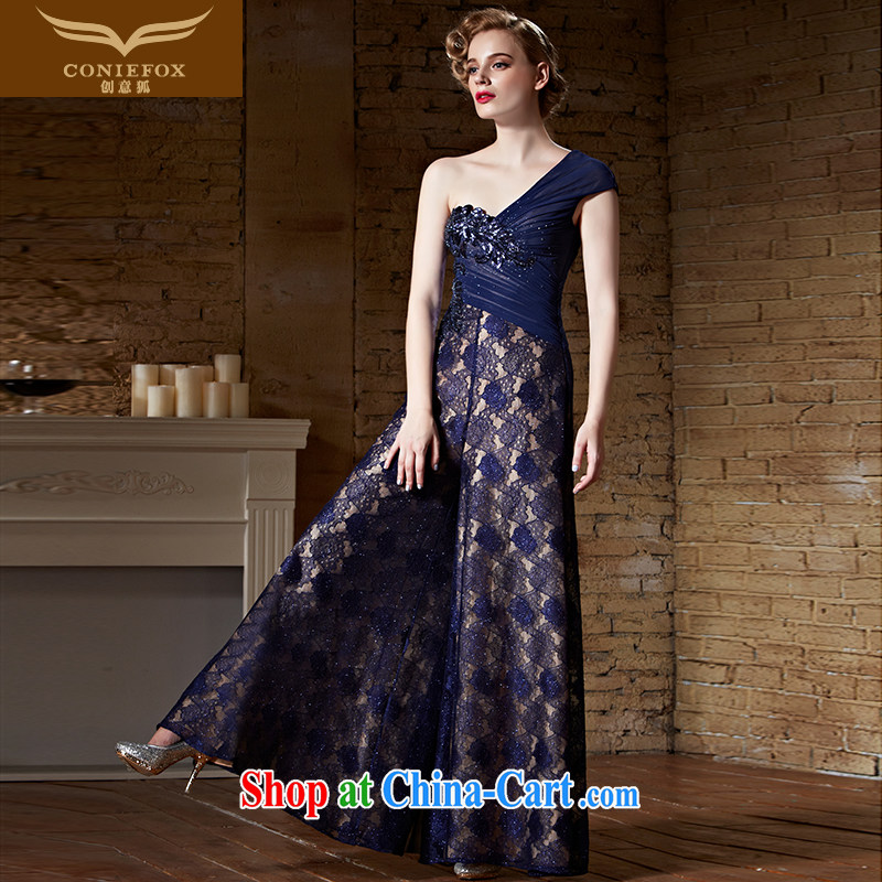 Creative Fox Evening Dress 2015 new sexy single shoulder dress long skirt royal blue long evening dress uniform toast annual dress presided over 82,156 picture color XXL
