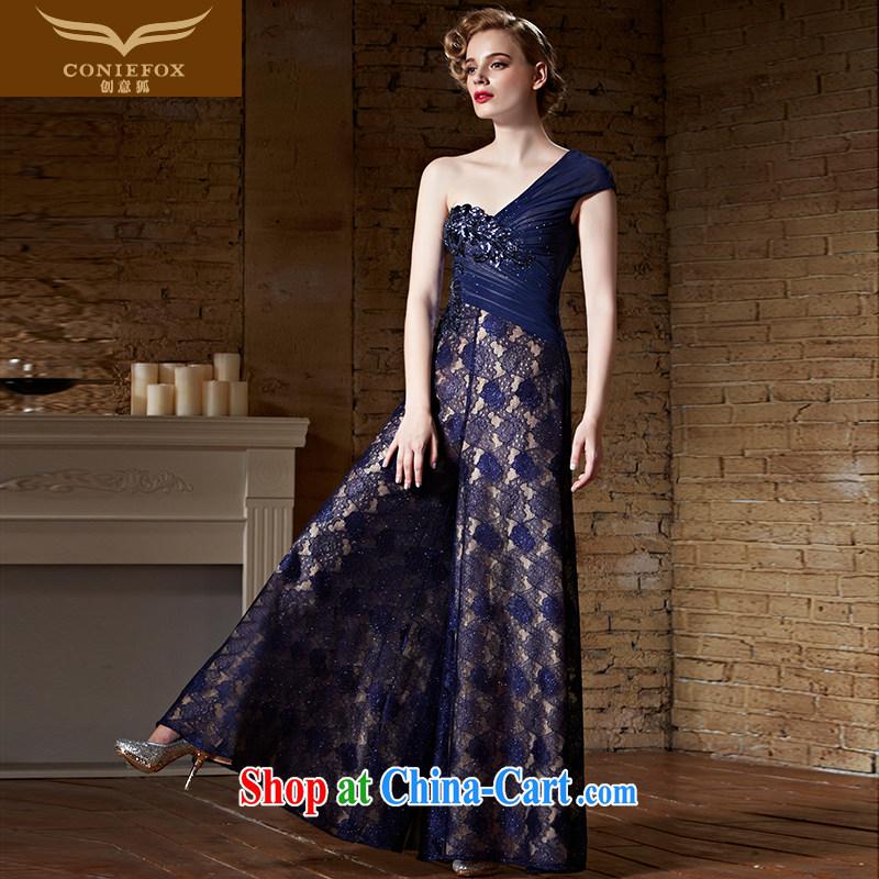 Creative Fox Evening Dress 2015 new sexy single shoulder dress long skirt royal blue long evening dress uniform toast annual dress presided over 82,156 picture color XXL
