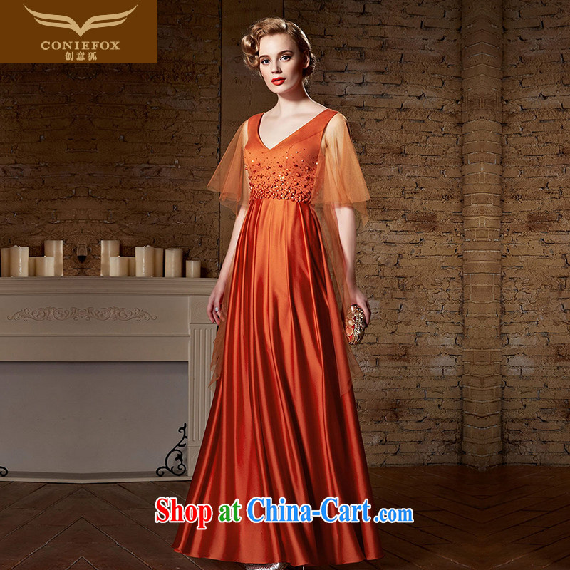 Creative Fox Evening Dress long beauty dress uniform toast girl bridesmaid dress V dress for the annual concert dress evening dress long skirt 82,180 picture color XL