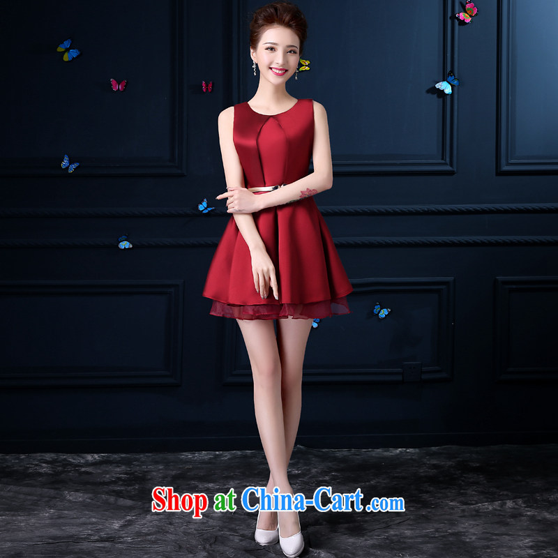 Evening Dress 2015 new summer banquet small dress short bridal wedding dress toast clothing dress women evening dress dark red 2 XL