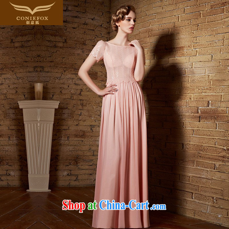 Creative Fox dress long pink bridal bridesmaid dress uniform toast ballet Silk Dresses short-sleeved dress moderator dress long skirt 30,838 picture color XL