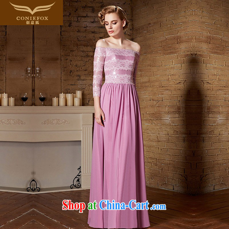 Creative Fox Evening Dress 2015 new pink long-sleeved a field for wedding dresses bridesmaid dress banquet long dress toast serving evening dress 30,888 picture color XXL