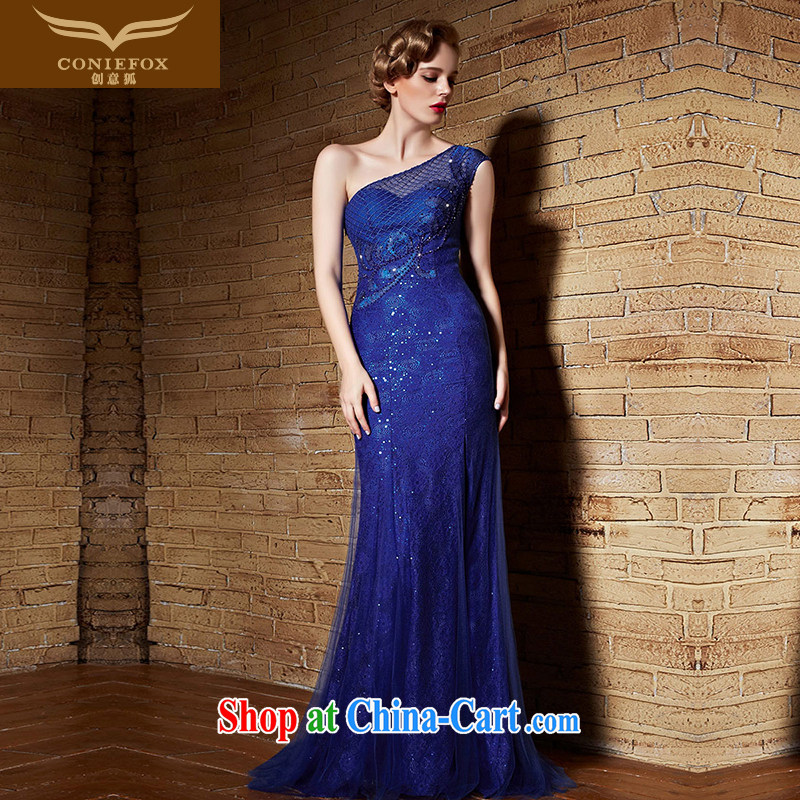 Creative Fox Evening Dress blue bridal wedding dresses evening dress toast clothing lace single shoulder banquet long fall to dress the dresses show 30,860 blue XXL