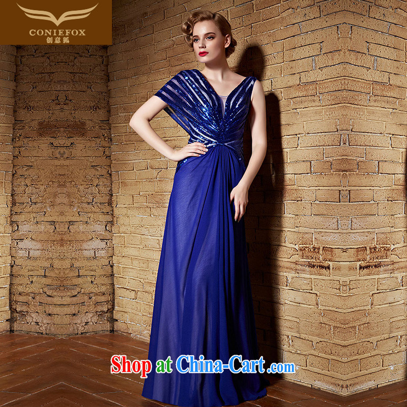 Creative Fox Evening Dress 2015 New Evening Dress long V blue collar back exposed dress uniform toast dress the dress uniforms 82,199 blue M