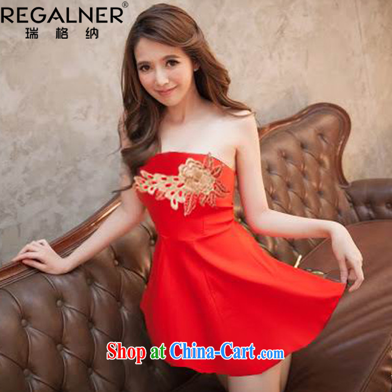 Ryan, the 2015 summer load new night ladies dress and elegant embroidery spend large erase chest dress dress bridesmaid clothing red are code