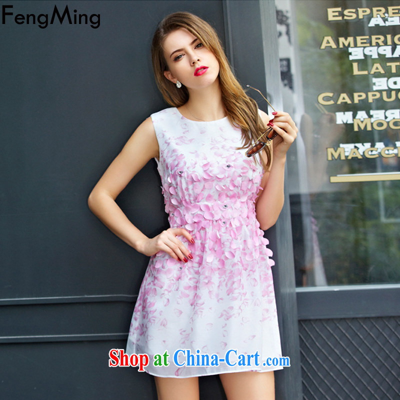Abundant Ming summer 2015 European site name Yuan vest dress girls and staples staples Pearl flower stamp snow woven dresses pink XL