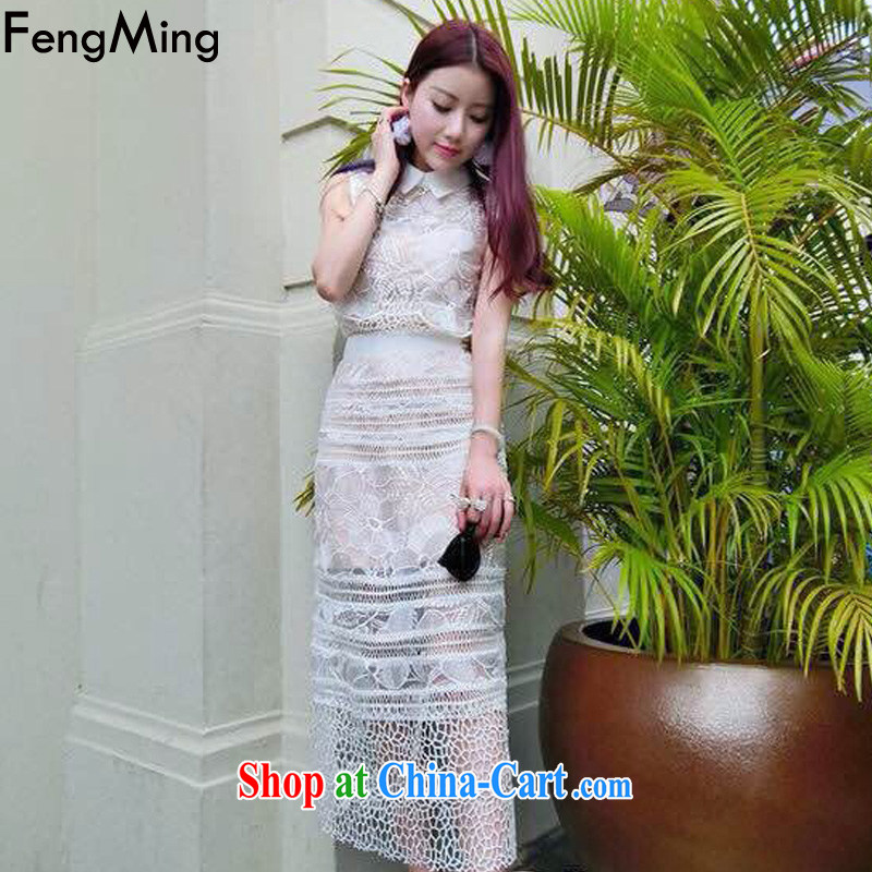 Abundant Ming summer 2015 New Star with Openwork lace dress women Beauty vest dresses white two-piece L