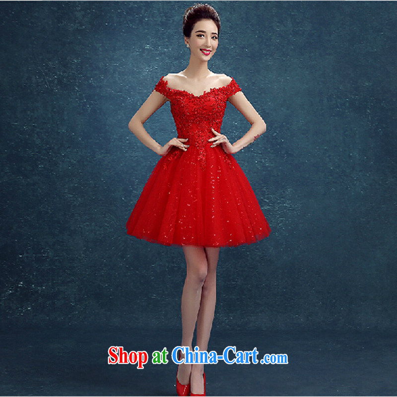 Bridal toast serving short skirts spring and summer new stylish Red field shoulder lace wedding dresses small bridesmaid Evening Dress red L
