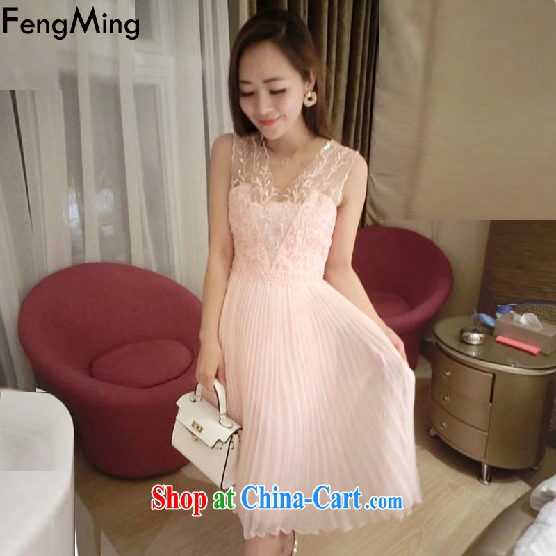 Abundant Ming summer 2015 New American heavy industry coral embroidery nail Pearl vest dress girls Sau San-sin snow woven dresses pink L