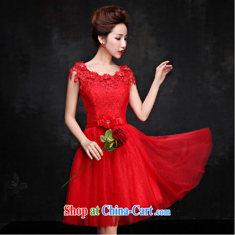 Pure bamboo love yarn 015 spring wedding dresses bridal toast serving Red field shoulder bridesmaid summer serving small dress dresses red tailored contact Customer Service