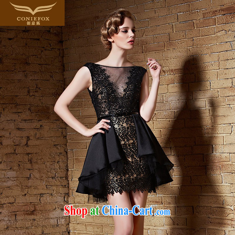 Creative Fox 2015 high quality custom dress small black dress uniform toast dress sleeveless shoulders short skirts appearances dress skirt 82,211 black tailored