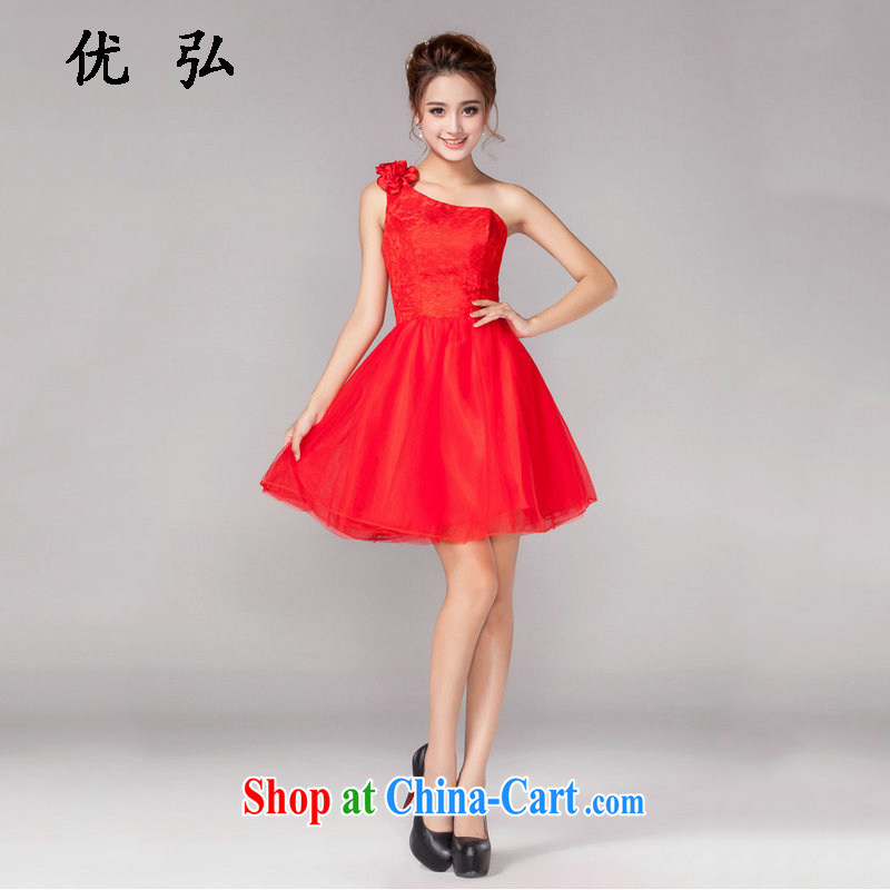 Optimize video 2015 new short red bridal wedding wedding dresses serving toast bridesmaid clothing dress spring and summer dresses small DM 5104 single shoulder type L