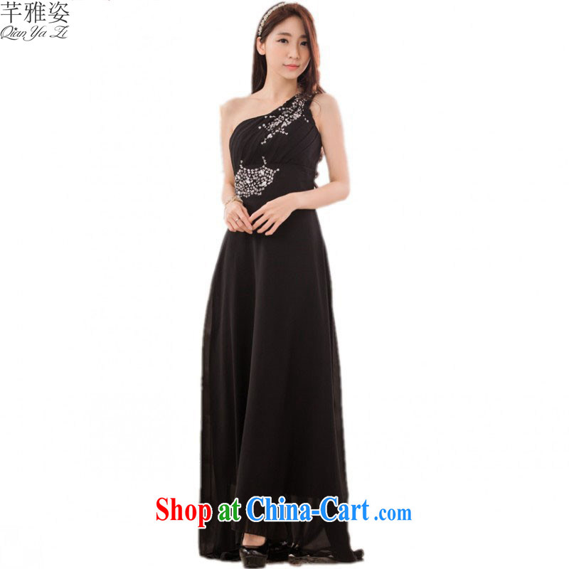 The 2015 new luxury American drilling the shoulder dress Greek goddess style dress snow woven dress XL video thin a shoulder the annual dress black 3 XL approximately 160 - 180 jack