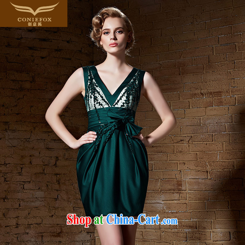 Creative Fox 2015 new high-end custom dress small green dress short dress uniform toast dress beauty vest dress skirt 82,182 green tailored