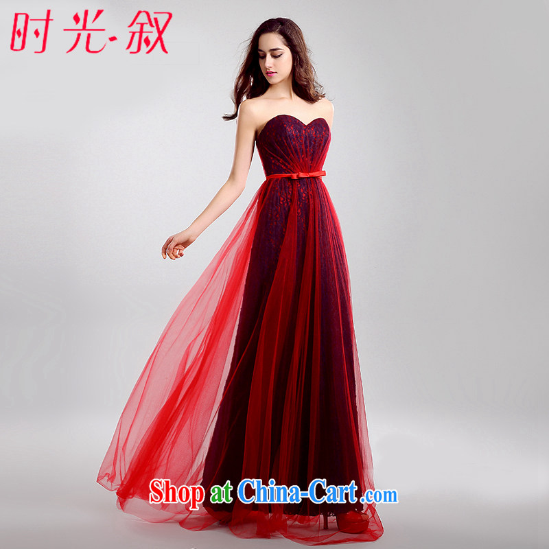Time his bride's wedding dress wiped his chest long serving toast the betrothal beauty Evening Dress Evening Dress uniforms from the banquet bridesmaid dress red spell blue XXL