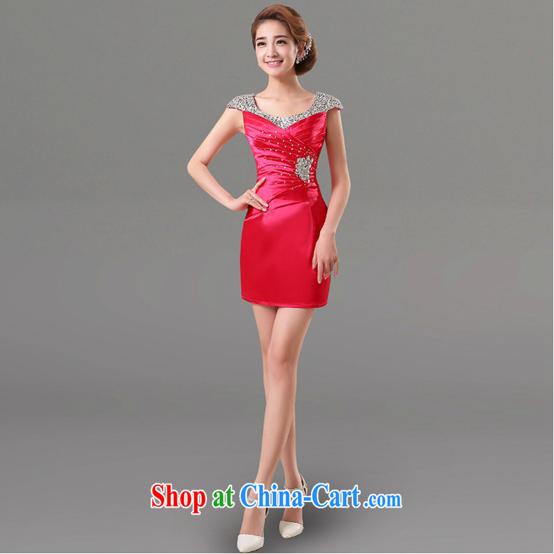 White first into some short bows Service Bridal Fashion 2015 new shoulders banquet dress hostess dresses beauty spring and summer the red XXL