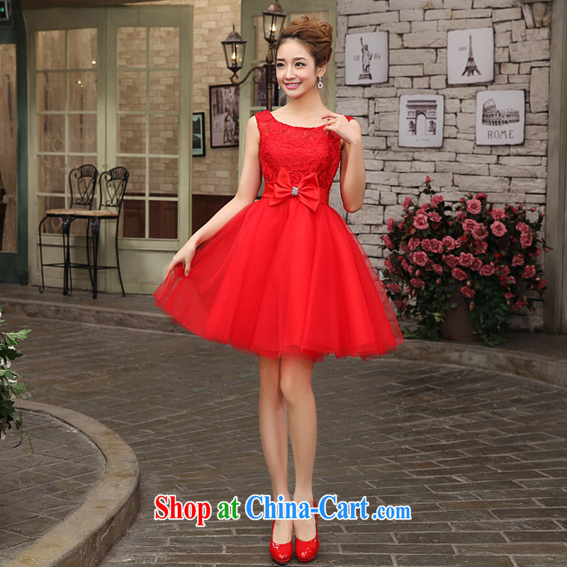 Kou Connie LIFU bridal toast service banquet dress married 2015 new spring and summer shoulders short small dress bridesmaid dress red L