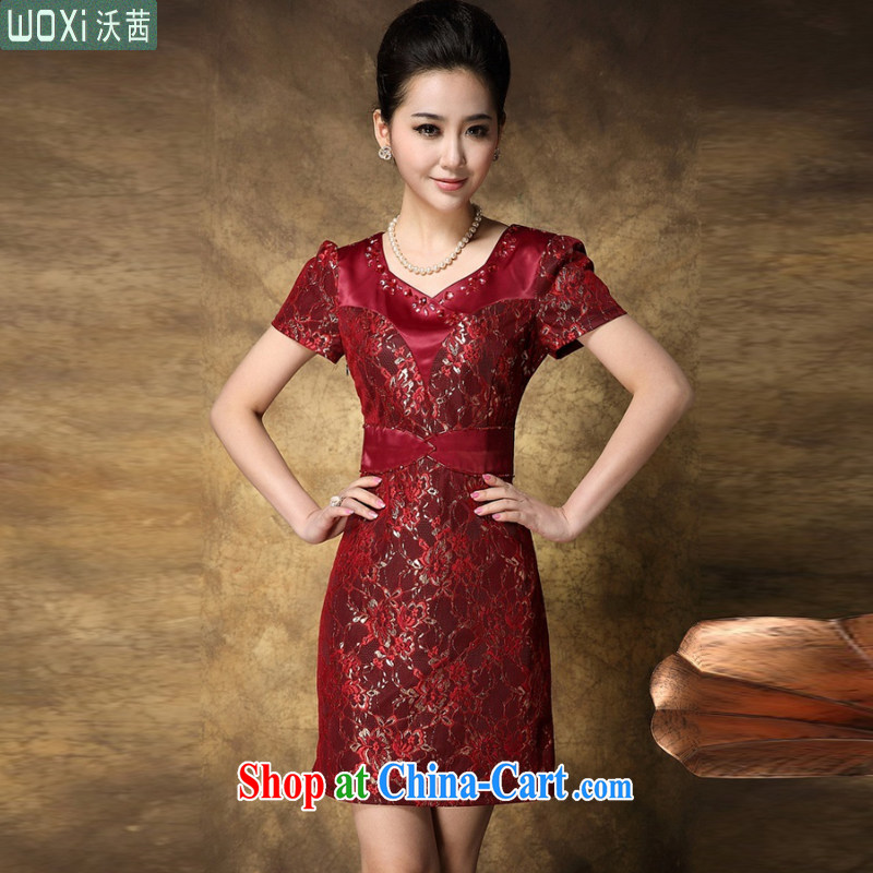 Kosovo Lucy _Woxi_ 2015 summer middle-aged and older married mothers with middle-aged mother-in-law summer wedding dress and upscale lace dresses 8080 red XXXXL