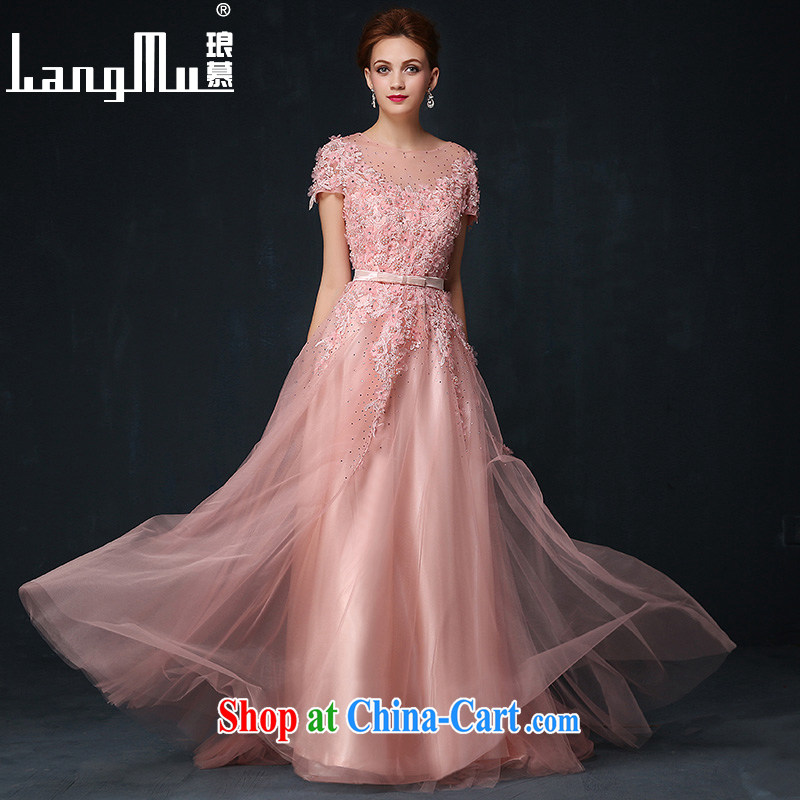 In Luang Prabang in the evening dress 2015 summer and autumn new Korean-drill flowers bridal dresses skirts dresses banquet Evening Dress bare pink XL