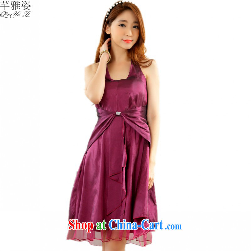 The 2015 new sexy back exposed U dress collar is also bow-tie dress XL annual fashion Evening Dress dress hosted dress fuchsia XXL approximately 140 - 160 jack