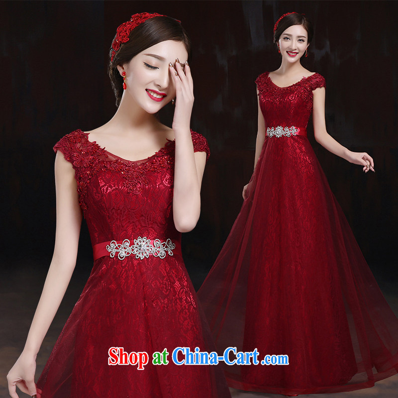 Toasting Service Bridal Fashion 2014 new marriage shoulders red evening dress long, cultivating the dress female dark red L