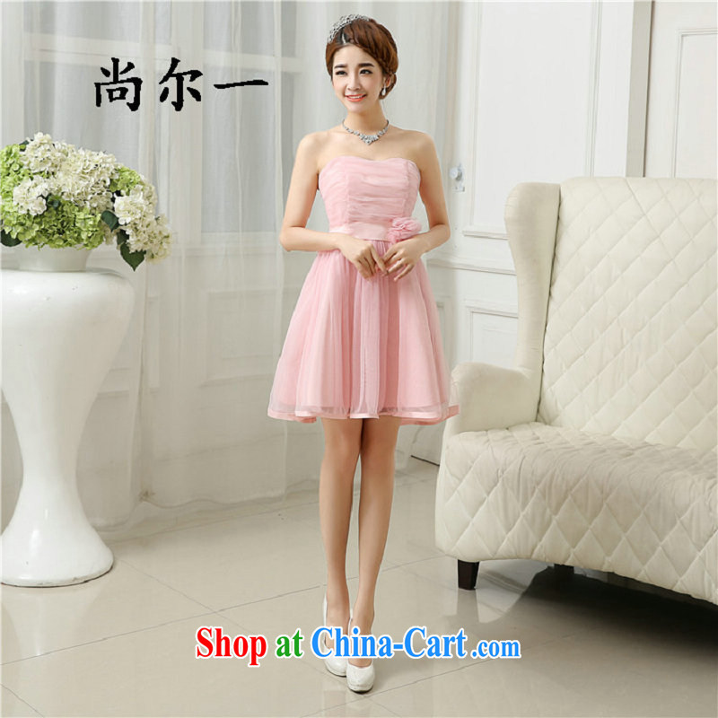 There's a bridesmaid dress short 2015 spring and summer new wedding banquet dress sister graduation dress dress 6501 pink are code